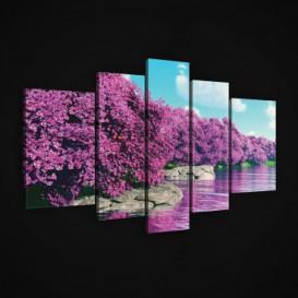 Obraz na plátne viacdielny - OB2467 - Ružové stromy