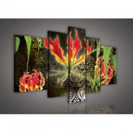 Obraz na plátne viacdielny - OB2508 - Červené kvety