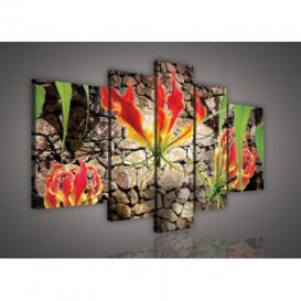 Obraz na plátne viacdielny - OB2514 - Červený kvet