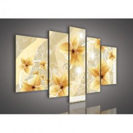 Obraz na plátne viacdielny - OB2539 - Zlaté kvety