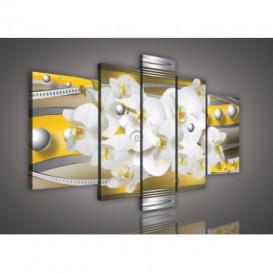 Obraz na plátne viacdielny - OB2557 - Žltá abstrakcia s orchideou