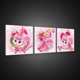 Obraz na plátne viacdielny - OB2585 - Princezné a maznáčikovia Aurora