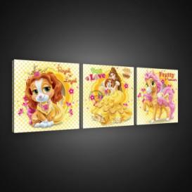 Obraz na plátne viacdielny - OB2586 - Princezné a maznáčikovia Belle