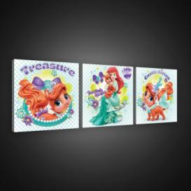 Obraz na plátne viacdielny - OB2587 - Princezné a maznáčikovia Ariel