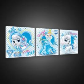 Obraz na plátne viacdielny - OB2589 - Princezné a maznáčikovia Cinderella