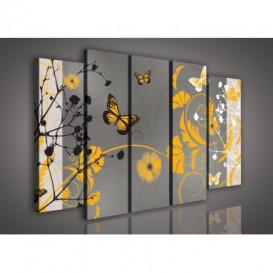 Obraz na plátne viacdielny - OB2673 - Maľované kvety a motýle