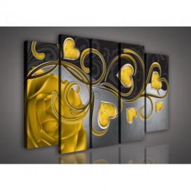 Obraz na plátne viacdielny - OB2685 - Žlté srdcia