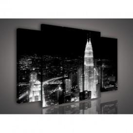 Obraz na plátne viacdielny - OB2721 - Nočné mesto čierno biele