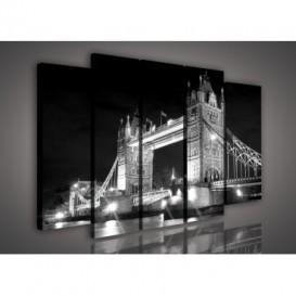 Obraz na plátne viacdielny - OB2734 - Londýnsky most čierno biely