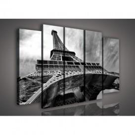 Obraz na plátne viacdielny - OB2739 - Eifelová veža čierno biely
