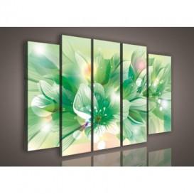 Obraz na plátne viacdielny - OB2811 - Zelené kvety
