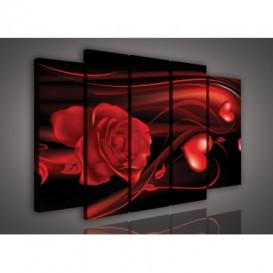 Obraz na plátne viacdielny - OB2814 - Červený ruža