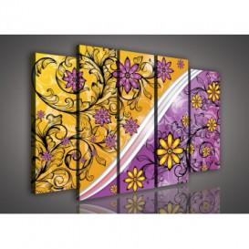 Obraz na plátne viacdielny - OB2861 - Žlto fialové kvety