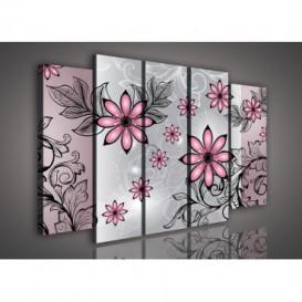Obraz na plátne viacdielny - OB2868 - Ružové abstraktné kvety