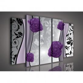 Obraz na plátne viacdielny - OB2869 - Kvety fialový