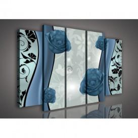 Obraz na plátne viacdielny - OB2870 - Kvety modrý