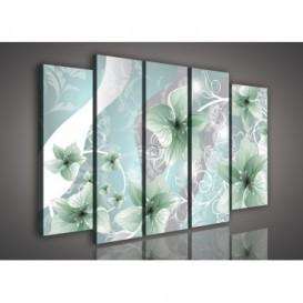 Obraz na plátne viacdielny - OB2872 - Zelené kvety