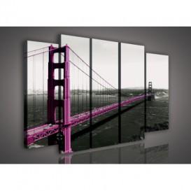 Obraz na plátne viacdielny - OB2885 - Fialový most