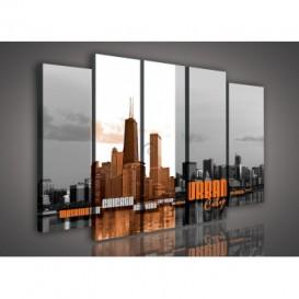 Obraz na plátne viacdielny - OB2887 - Urban city oranžový