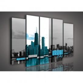Obraz na plátne viacdielny - OB2889 - Urban city modrý