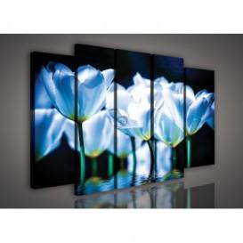 Obraz na plátne viacdielny - OB2901 - Modré kvety
