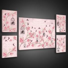 Obraz na plátne viacdielny - OB2935 - Ružové kvietky a vtáčiky