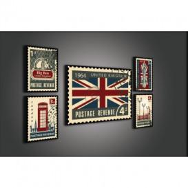 Obraz na plátne viacdielny - OB2939 - Londýn poštové známky