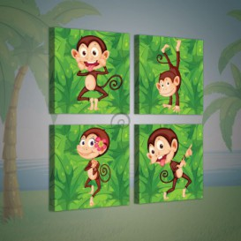 Obraz na plátne viacdielny - OB2986 - Opičky