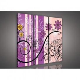 Obraz na plátne viacdielny - OB3129 - Ružovo fialové kvety