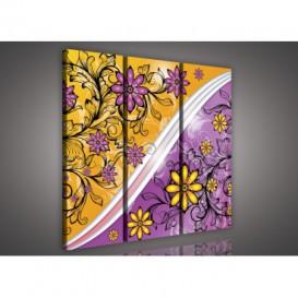Obraz na plátne viacdielny - OB3131 - Žlto fialové kvety