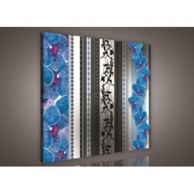 Obraz na plátne viacdielny - OB3136 - Modré orchidey so vzorom
