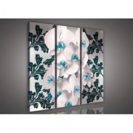 Obraz na plátne viacdielny - OB3144 - Biela orchidea modro zelený vzor