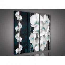 Obraz na plátne viacdielny - OB3149 - Biela orchidea modro zelený vzor