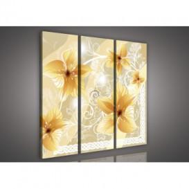 Obraz na plátne viacdielny - OB3189 - Zlaté kvety