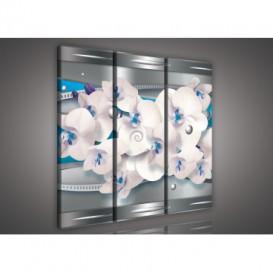 Obraz na plátne viacdielny - OB3196 - Modrá abstrakcia s orchideou