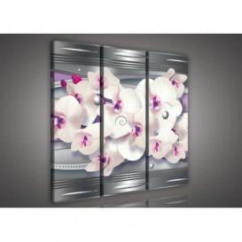 Obraz na plátne viacdielny - OB3197 - Fialová abstrakcia s orchideou