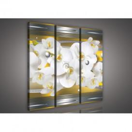 Obraz na plátne viacdielny - OB3214 - Žltá abstrakcia s orchideou