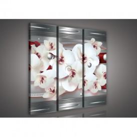 Obraz na plátne viacdielny - OB3216 - Bordová abstrakcia s orchideou