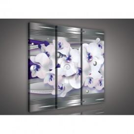 Obraz na plátne viacdielny - OB3218 - Fialová abstrakcia s orchideou
