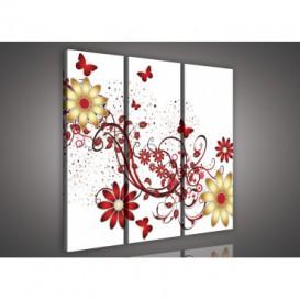 Obraz na plátne viacdielny - OB3227 - Zlato červené kvety biely