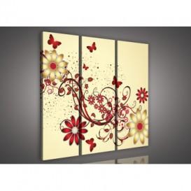 Obraz na plátne viacdielny - OB3228 - Zlato červené kvety béžový