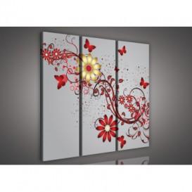 Obraz na plátne viacdielny - OB3229 - Zlato červené kvety sivý