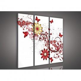 Obraz na plátne viacdielny - OB3230 - Zlato červené kvety biely