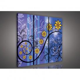 Obraz na plátne viacdielny - OB3233 - Zlaté kvety modrý
