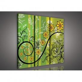 Obraz na plátne viacdielny - OB3234 - Zlaté kvety zelený
