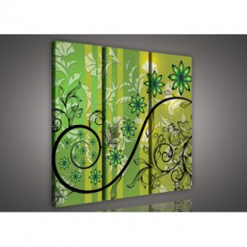 Obraz na plátne viacdielny - OB3235 - Zelené kvety zelený