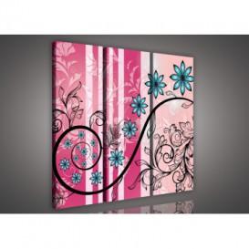 Obraz na plátne viacdielny - OB3236 - Modré kvety ružový