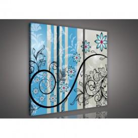 Obraz na plátne viacdielny - OB3237 - Modré kvety modrý