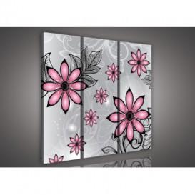Obraz na plátne viacdielny - OB3238 - Ružové abstraktné kvety