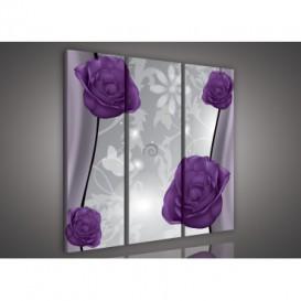 Obraz na plátne viacdielny - OB3239 - Kvety fialový